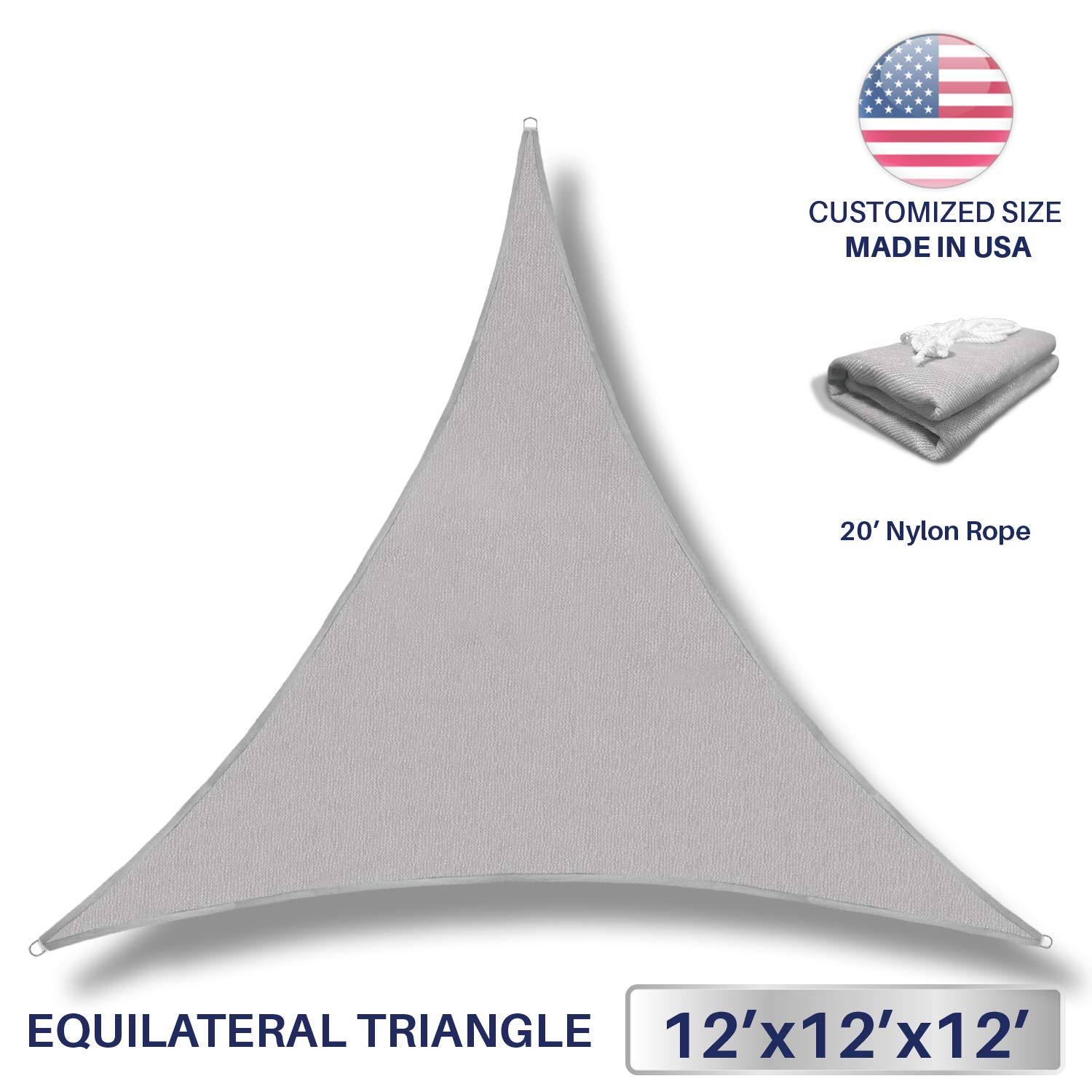 Windscreen4less 12' x 12' x 12' Sun Shade Sail Canopy in Light Grey with Commercial Grade (3 Year Warranty) Customized