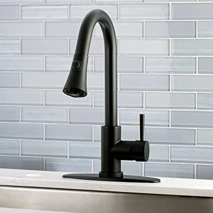 Kingston Brass Black Modern Pull Down Kitchen Faucet Matte Black