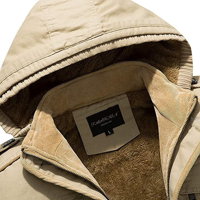 AKIMPE Mens Winter Thicken Cotton Parka Jacket with Removable Hood at Amazon Mens Clothing store: