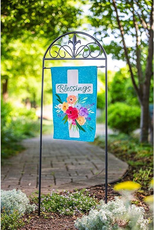 Amazon Com Blessings Floral Cross Garden Linen Flag 13 X 1 X 18 Inches Garden Outdoor