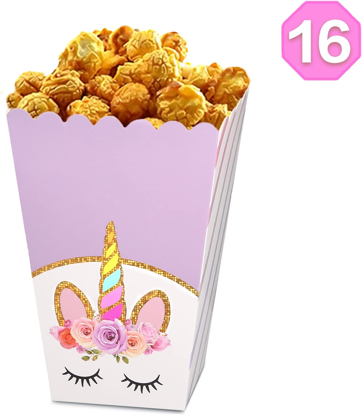 Unicorn Party Popcorn Boxes for 16 Guests