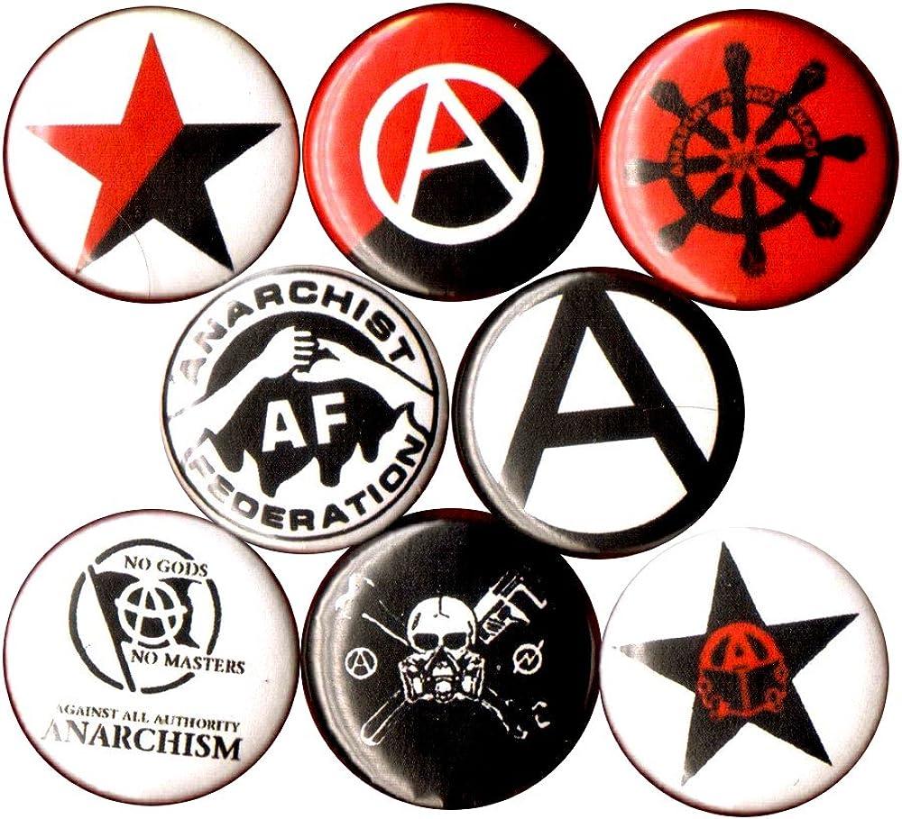 Anarchist 8 nueva 1 Inch pins botones insignia bandera de la ...