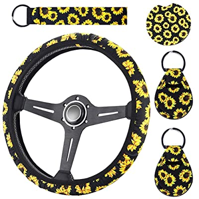 WenMei Sunflower Steering Wheel Cover + 1 Car Coaster + 1 Lanyard + 2 Coin Sunflower Keychains Cute and Stylish Universal Sunflower Steering Wheel Cover, Sunflower Car Interior Kits: Automotive