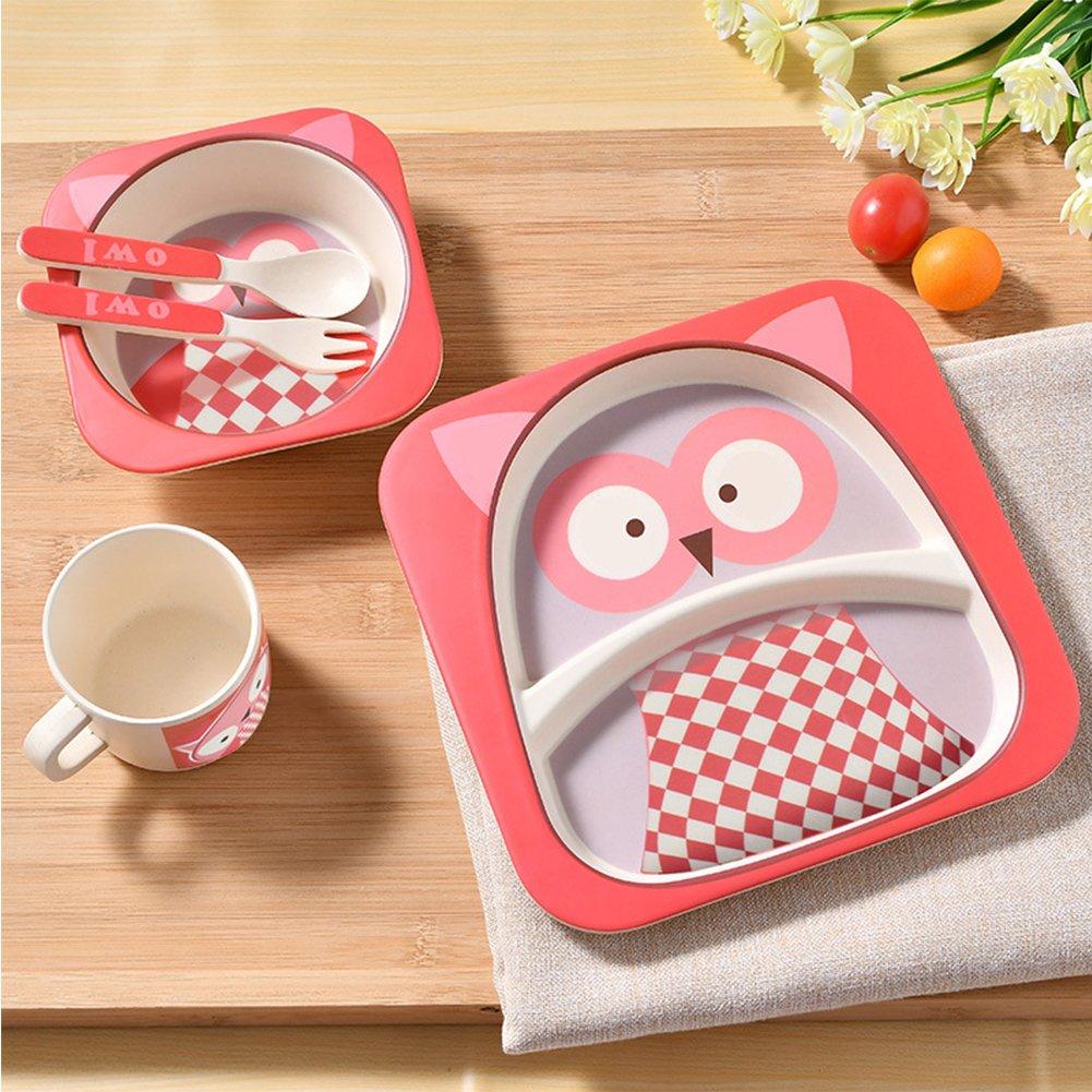 Ocamo Conjunto de vajilla Plato con Bowl Taza Cuchara Tenedor para Bebés Más de 6 Meses 5pcs