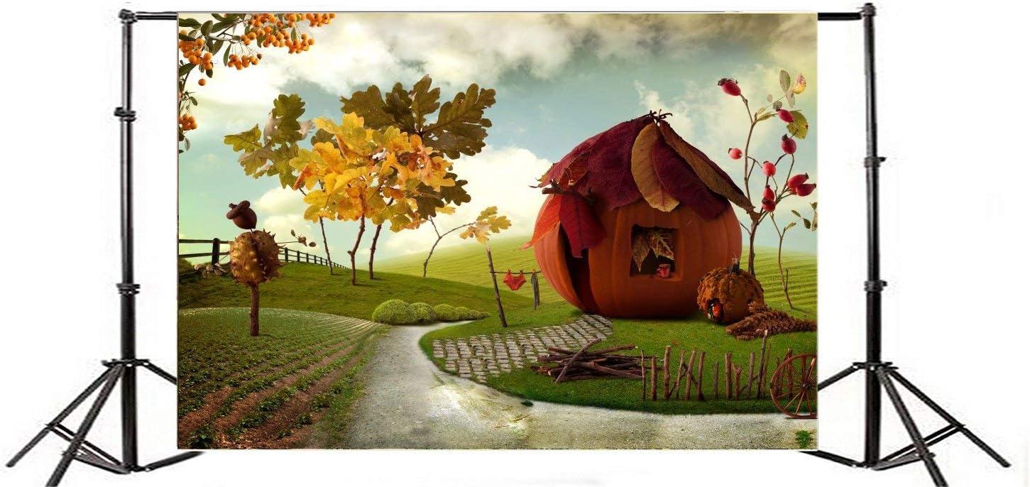 9X6FT Vinyl Photography Backdrop Dreamland Fairytale Pumpkin House Golden Leaves Trees Grass Field Wooden Fence Blue Sky White Cloud Autumn Harvest Background Baby Kids Photo Studio Props