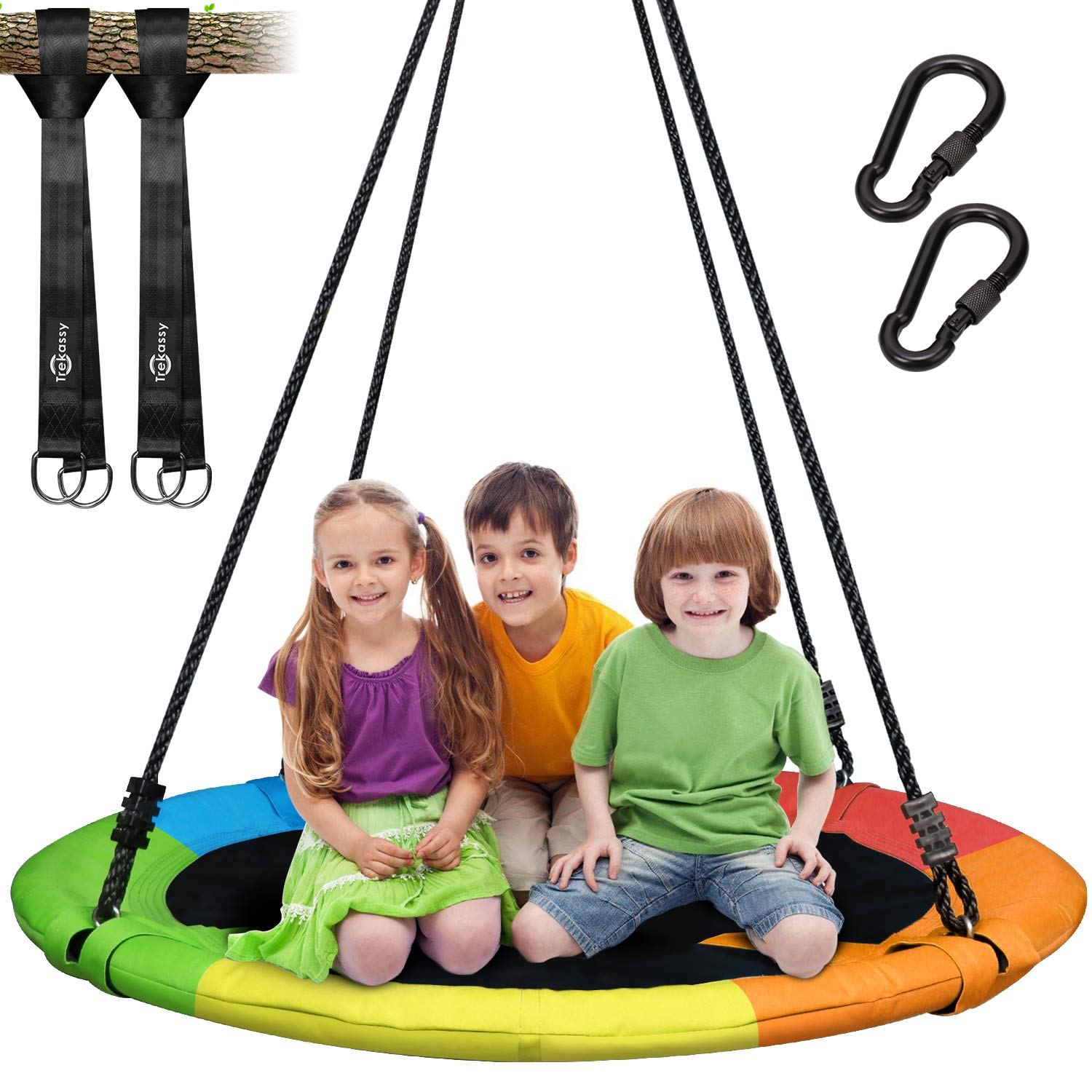 Trekassy 700 lb Saucer Tree Swing for Kids Adults 40 Inch 900D Oxford Waterproof Frame with 2 Hanging Straps - Rainbow by Trekassy (Image #1)