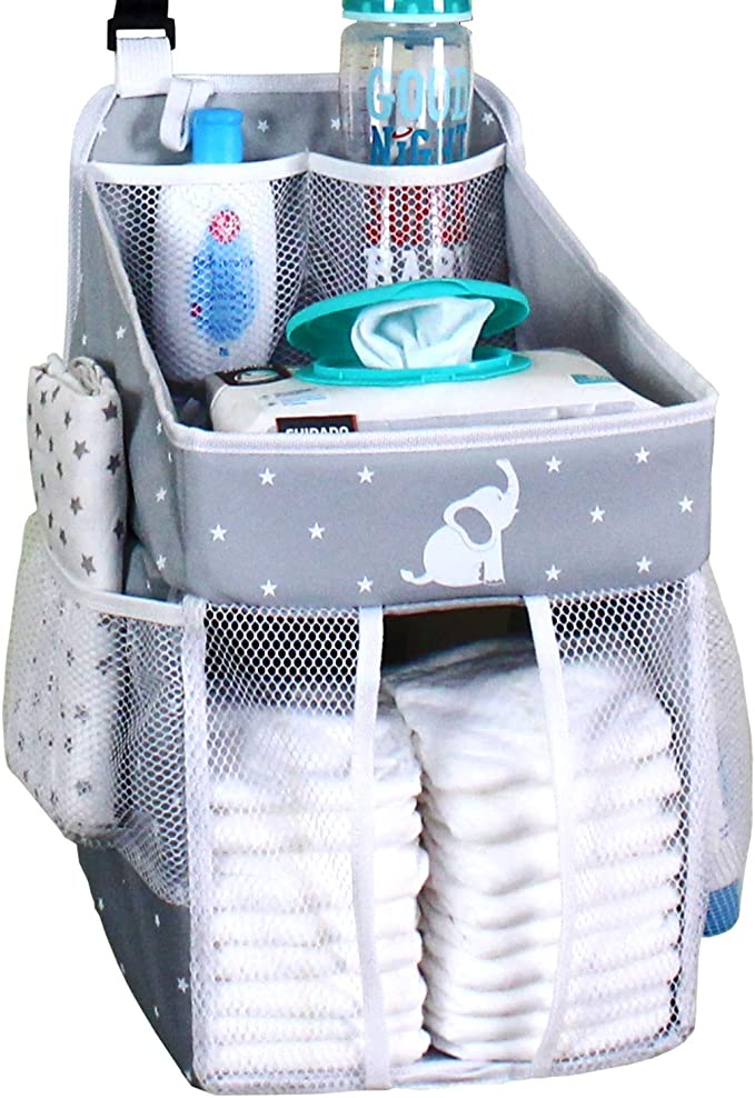 Hanging Diaper Caddy Crib Diaper Organizer Diaper Stacker For Crib Playard Or Wall Newborn Boy And Girl Diaper Holder For Changing Table Baby Shower Gifts Elephant Gray