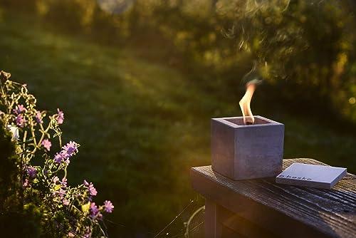 """Antorcha de hormigón con """"mecha permanente"""", Tamaño 10x10x10, Antorcha de jardín rellenable, Tiempo de combustión """"infinito"""" gracias al reciclado ecológico de la cera de las velas, Antorcha de mesa: Amazon.es: Handmade"""