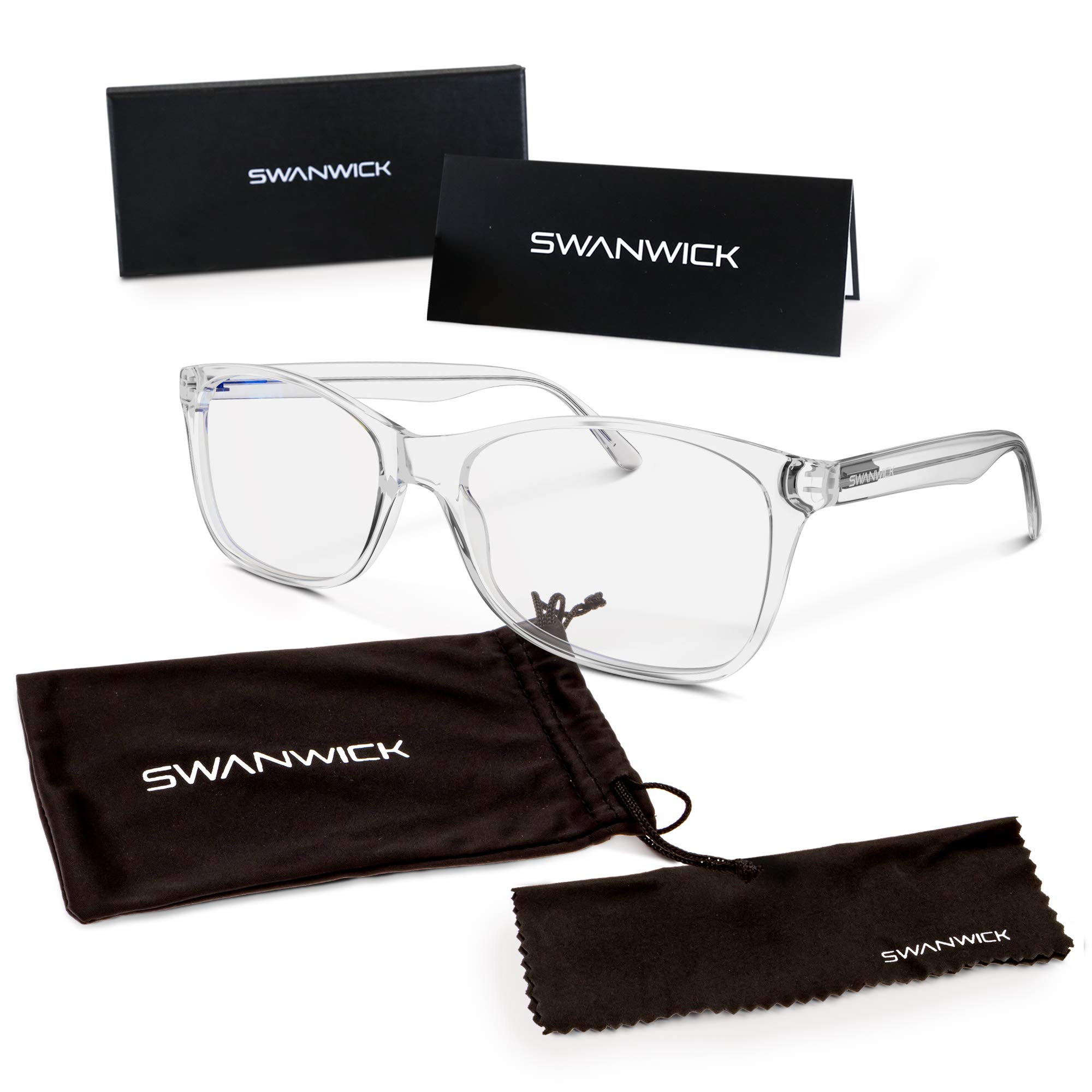 Computer Glasses by Swanwick - Anti-Glare for Gaming, Reading or TV Screens - Untinted Blue Light Blocking Clear Lens Prevents Eyestrain- (Diamond) Regular