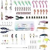 ENKEEO 106 Piezas Señuelos de Pesca, Kits de Señuelos, Cebos Artificiales, Incluido la Caja Tackle, Ganchos, Tijeras, Cebos, Popper, Grillos y más