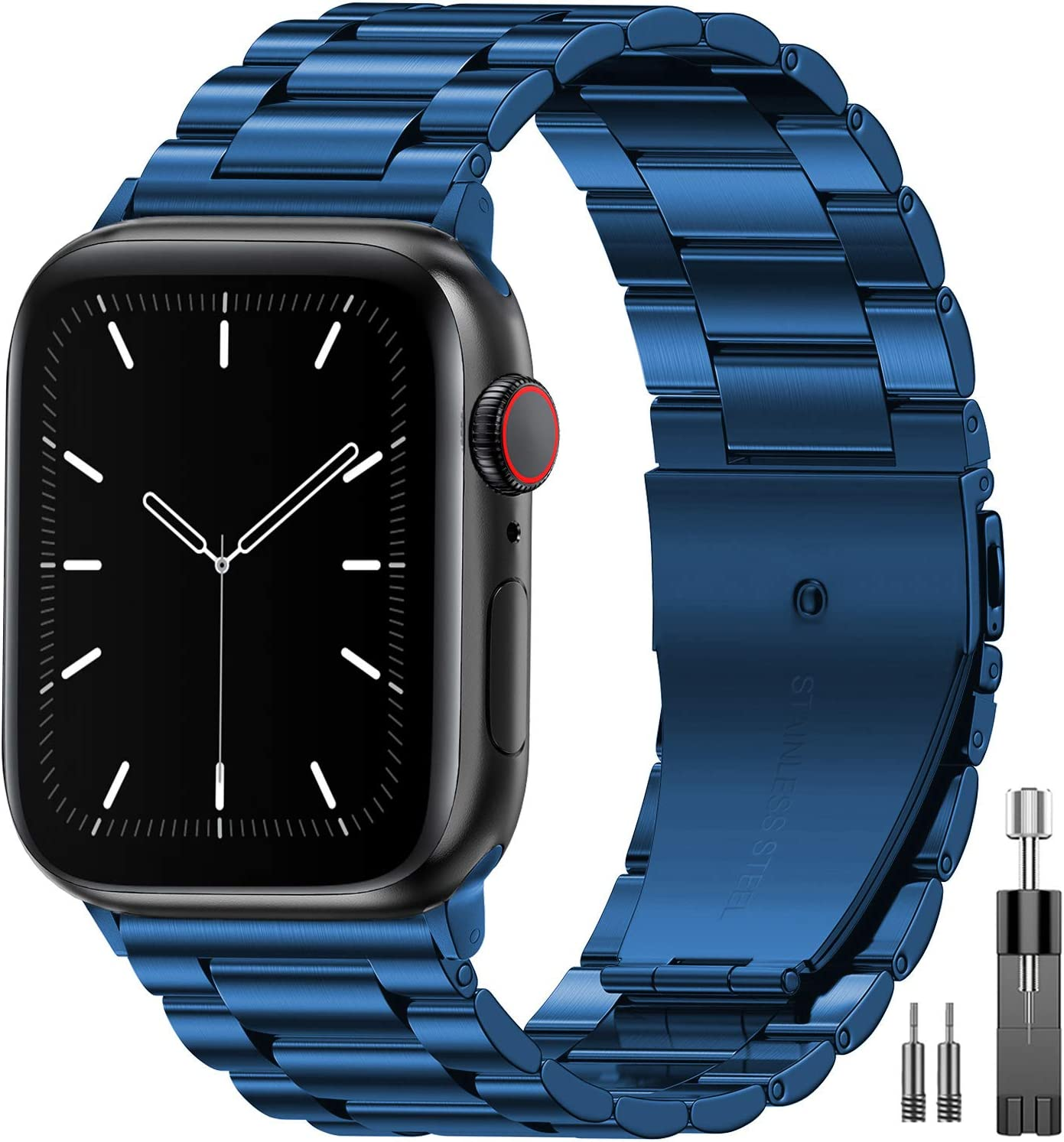EPULY Compatible with Apple Watch Band 42mm 44mm 38mm 40mm ,Business Stainless Steel Metal Wristband for iWatch SE Series 6/5/4/3/2/1 (Blue, 38mm/40mm)