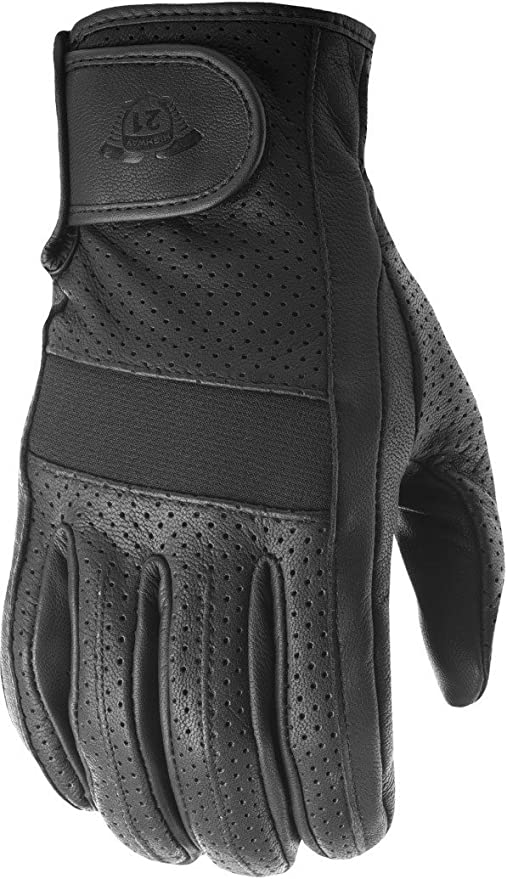 Men/'s Fingerless Leather Riding Half Jab Perforated Leather Gloves Sizes S-3X