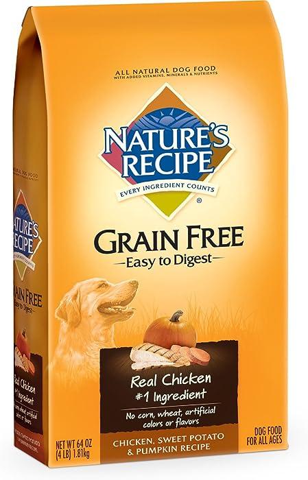 Nature's Recipe Grain Free Easy to Digest Chicken, Sweet Potato & Pumpkin Recipe Dry Dog Food, 4-Pound