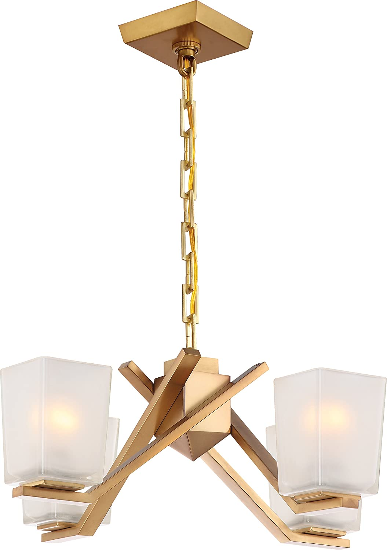 Nuvo Lighting 60/5081 60/5081 Novo 60/5081 Four Light Chandelier, 4 Lt Chandelier, Vintage Brass