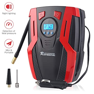 Rosfim Tire Inflator Portable Air Compressor with Digital Pressure Gauge LED Light 12V DC Auto Air Pump For Cars Bikes Balloons and Other Inflatables