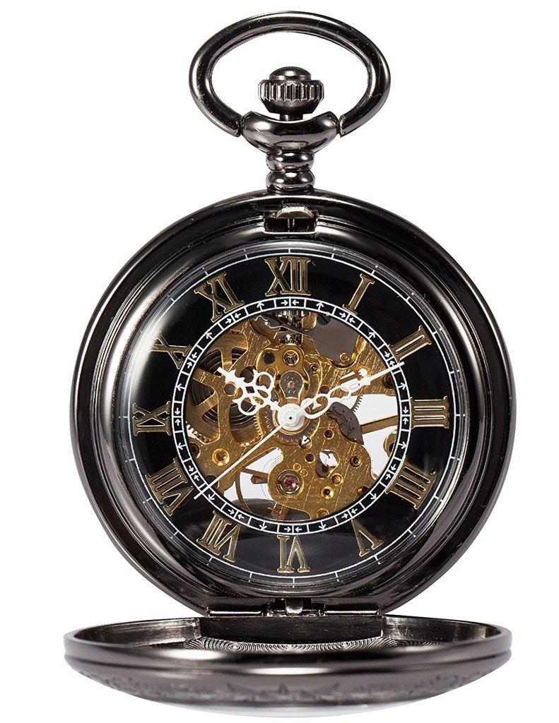Treeweto Steampunk Skeleton Mechanical Copper Fob Retro Pocket Watch
