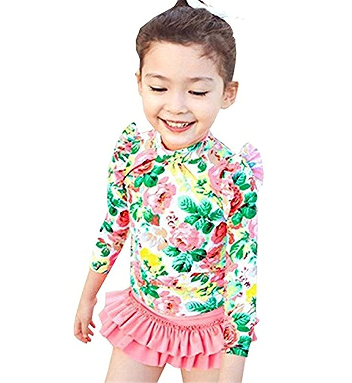 KABETY Baby Girls 3PCS Long Sleeve Swimsuit Floral Bathing Suit Rash Guards Set