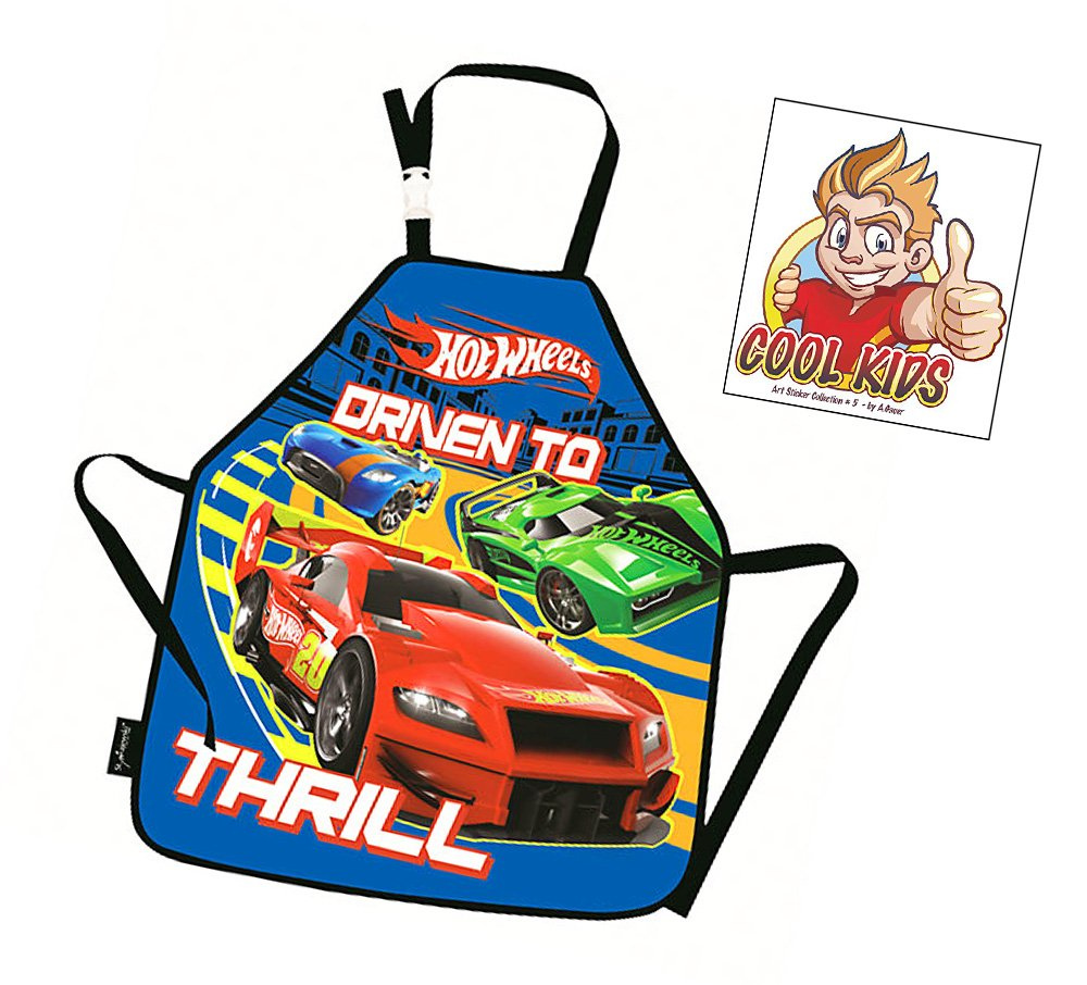 HOT WHEELS - Bastelschürze/Kinderschürze/Malschürze/Kochschürze - Motiv: coole Hot Wheels Autos + Art Sticker Nr. 5