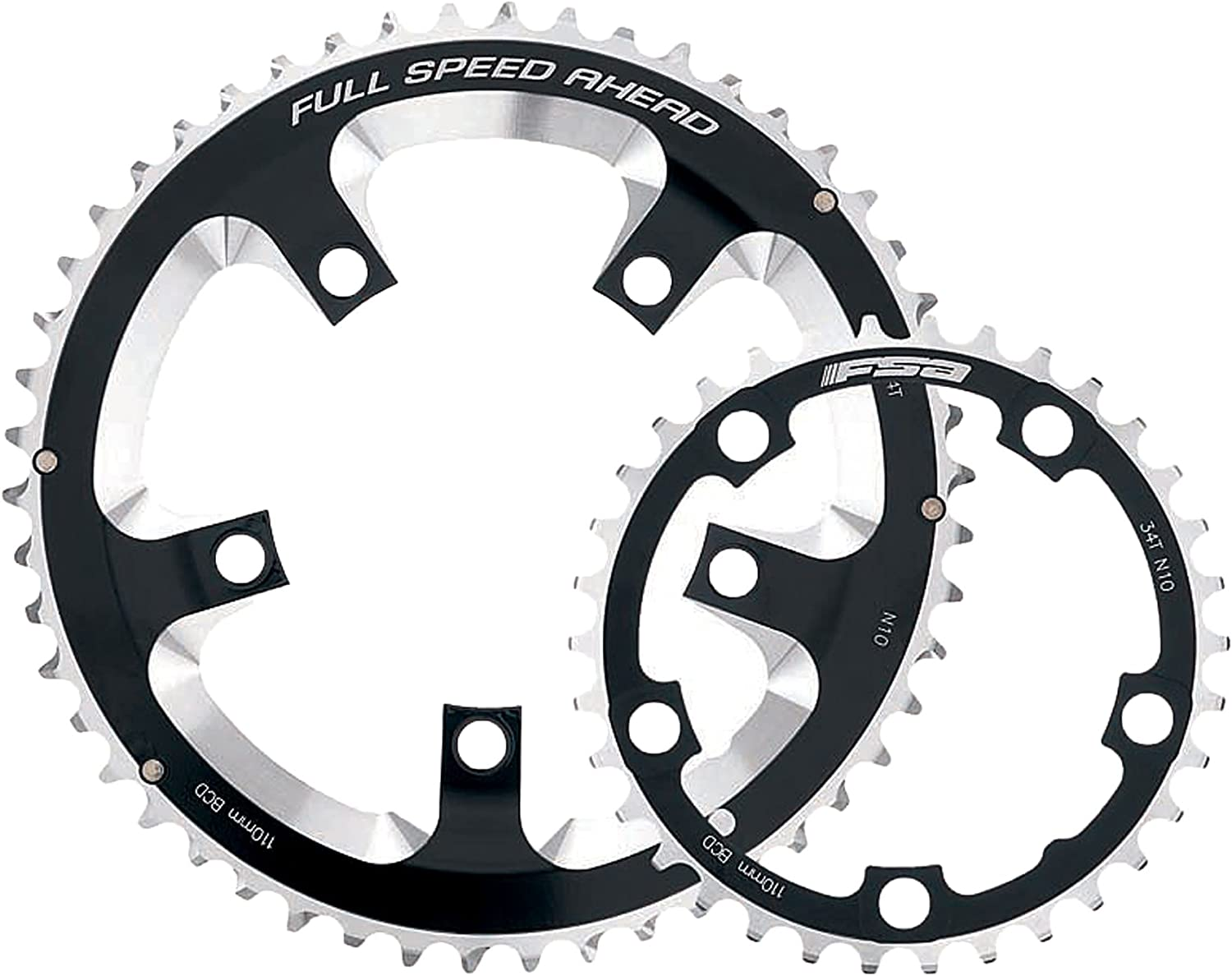 10//11sp. Outer Chainring FSA For Double, BCD: 110mm 46T 5 Bolts Pro Road
