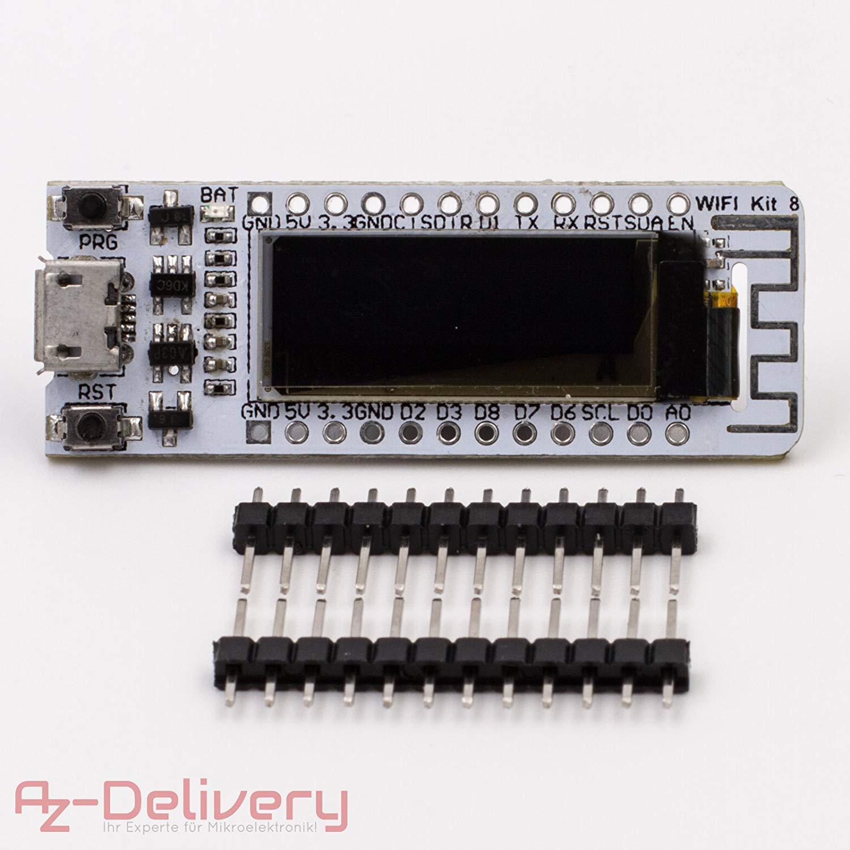 AZDelivery ⭐⭐⭐⭐⭐ M/ódulo WiFi NodeMCU Lua Amica V2 ESP8266 ESP-12E Placa de Desarrollo Wi-Fi Pantalla OLED CP2102 con ebook Gratis!