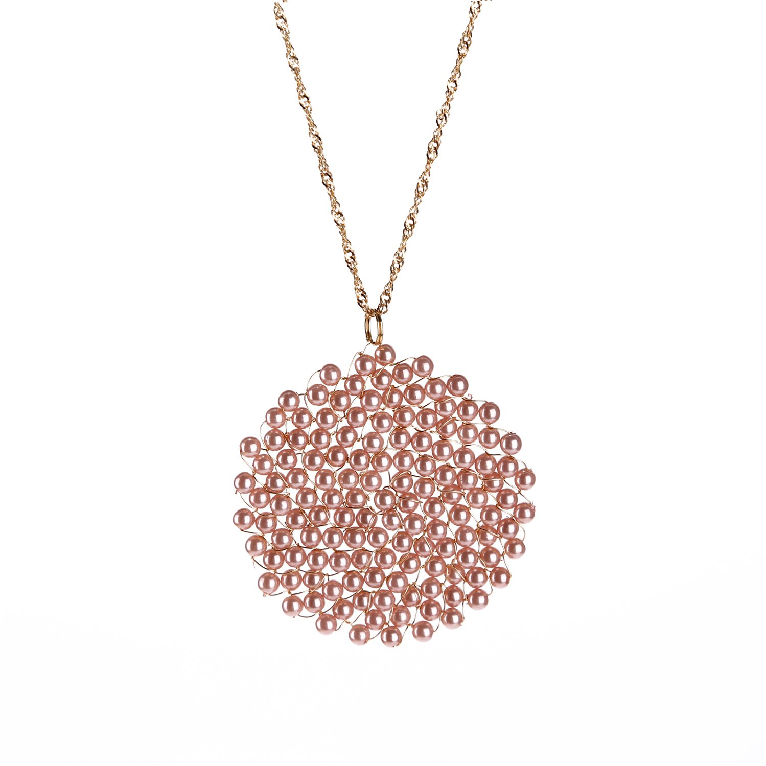 Niumike Circle Disc Pendant Necklaces For Women,100% Hand Made Pink Statement Necklace Set With Gift Box