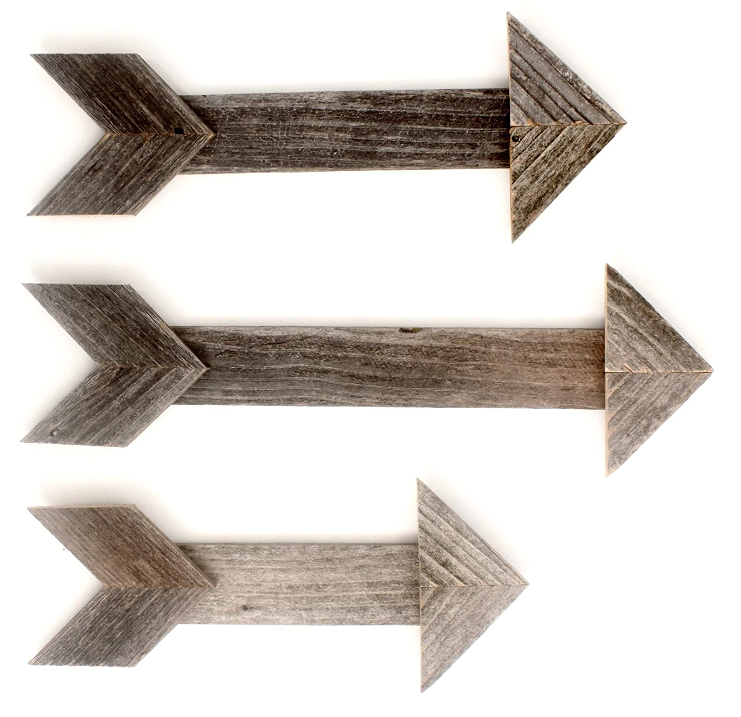 Amazon com barnwoodusa wood arrow wall decor set of 3 100 up cycled reclaimed wood weathered gray home kitchen