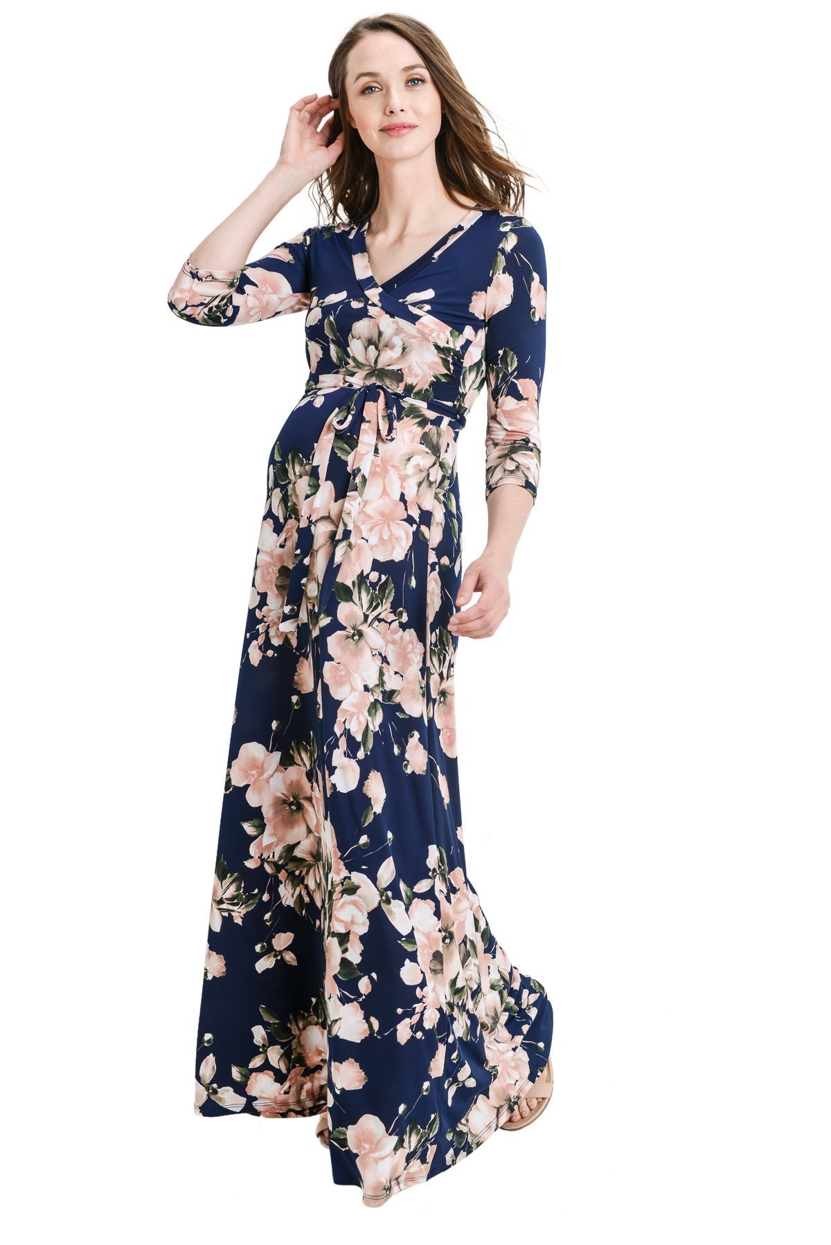 Hello MIZ Women's Faux Wrap Maxi Maternity Dress with Belt - Made in USA (Dark Navy/Blush, L)