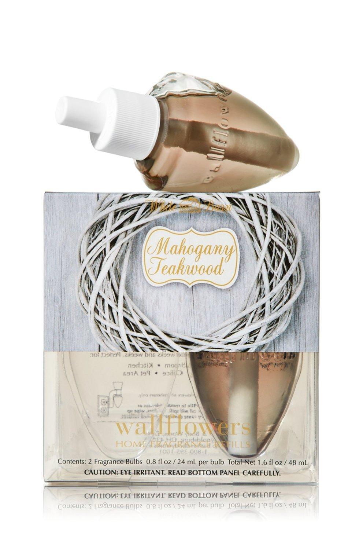 Bath & Body Works Wallflowers Home Fragrance Refill Bulbs (2 Bulbs) Mahogany Teakwood