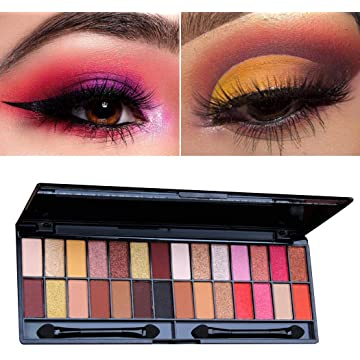Youandmes 28 colors Women Shimmer Matte Eye Shadow Palette Makeup Beauty Paint Brushes