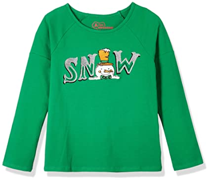 468efe7aff99 A for Awesome Girls Long Sleeve Christmas Graphic Tee Featuring Snowman  X-Small Green Lush