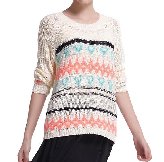 BabyYoung Women's Round Neck Printing Sweater Slim Vogue