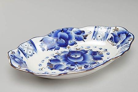 Joli plana oval de porcelana con pintura de Gjel azul cobalto ...