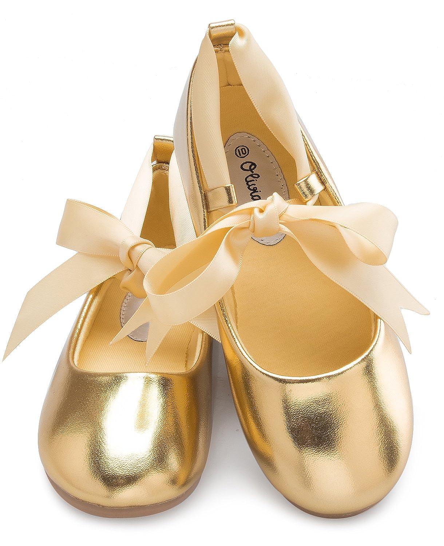 84ff3803244ce OLIVIA K Girls Adorable Ballerina Mary Jane Flats Ribbon Tie Shoes