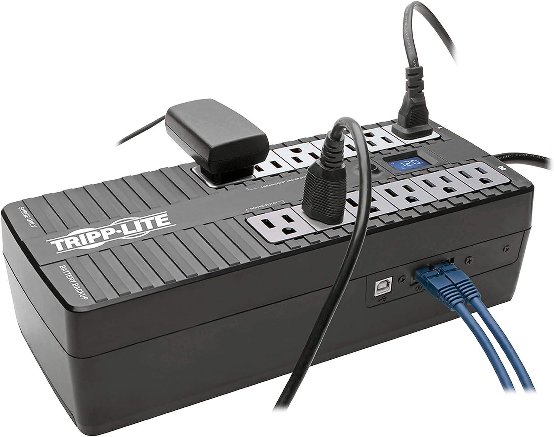 Tripp Lite UPS 850VA 425W Eco Green Battery Back Up LCD 120V USB RJ11 PC 12 Outl