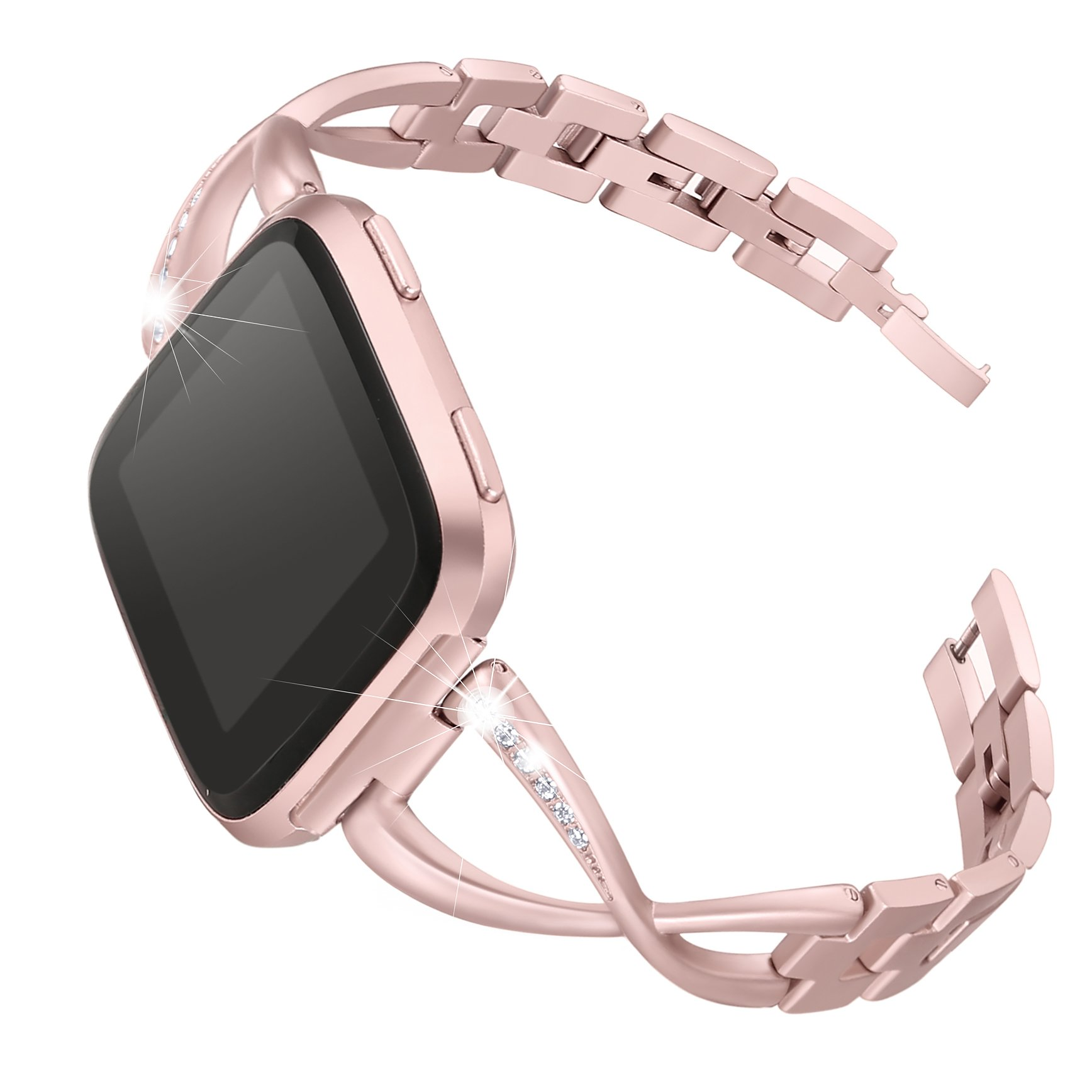 bayite For Fitbit Versa Bands for Women, Rose Gold Stainless Steel Bling Replacement Band Accessories Bracelet with Rhinestones Diamond X-Link for Fitbit Versa Watch Band, 5.3''-7.6''