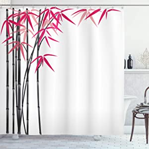 Bamboo House Decor Shower Curtain by Ambesonne, Bamboo Tree with Colorful Leaves Exotic Elements Bushes Stylized Arwork, Polyester Fabric Bathroom Decor Set with Hooks, Pink Grey White