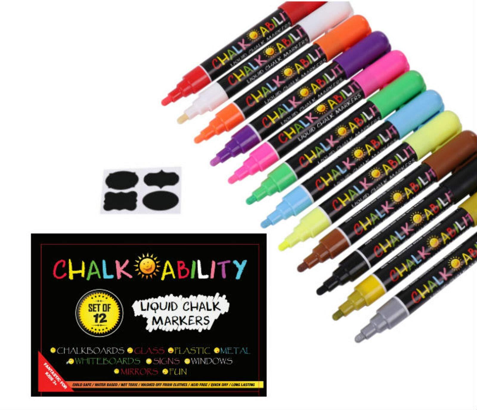 Marcadores de Tiza Liquida CHALK PEN 12 Un. Multicolor