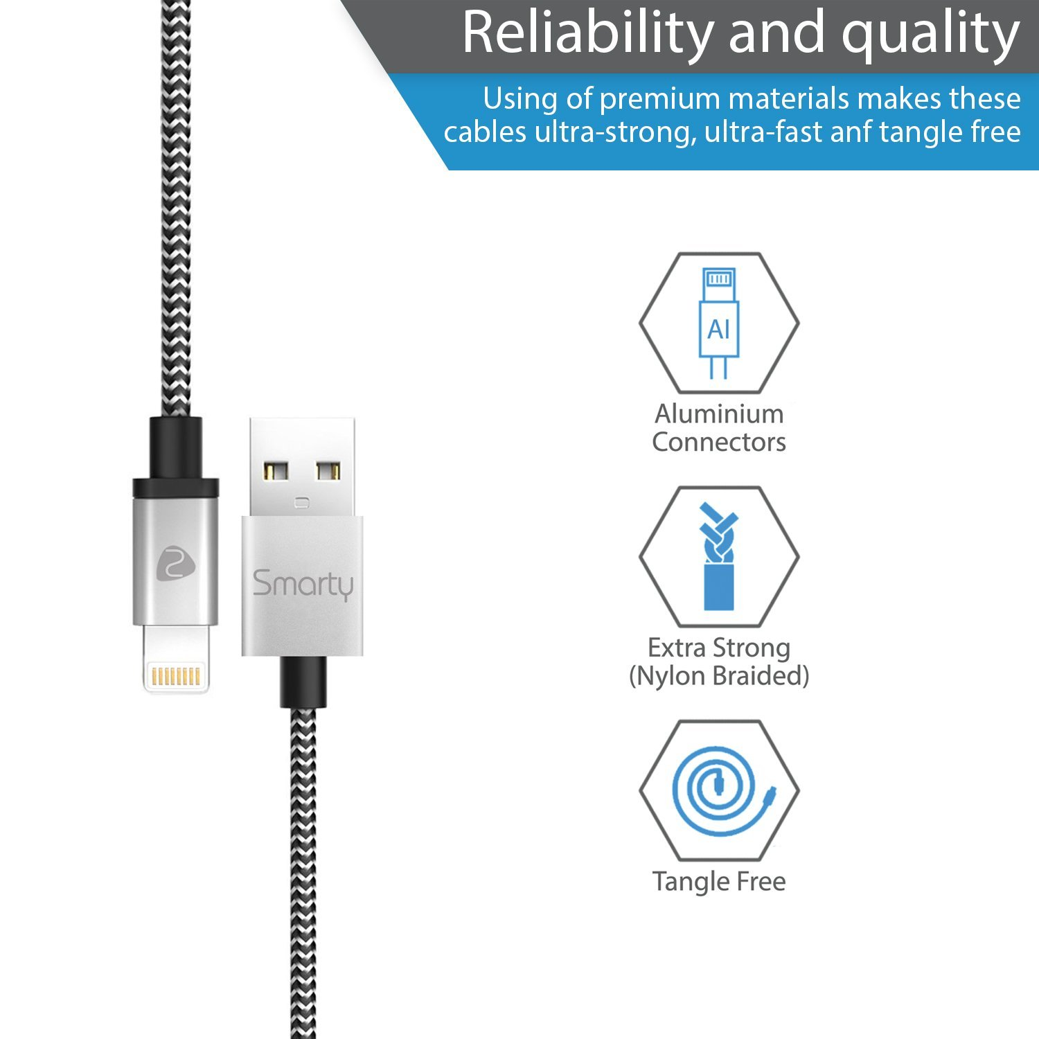 Smarty iPhone Charger MFi Certified Lightning Cable 6ft 3 Pack Nylon Braided Fast Charging & Sync Power Cord for iPhone X 8/8 plus 7/7 Plus/6/6S/6 Plus/6S Plus/5 5S 5C SE iPad 2 3 4 by Smarty (Image #2)