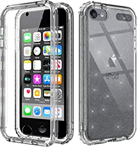 Cyberowl iPod Touch 7th Generation Case with Build in Screen Protector Heavy Duty Full Body Rugged Slim Fit Shockproof Cover for Apple iPod Touch 5/6/7th Generation (GW09 Glitter Clear)