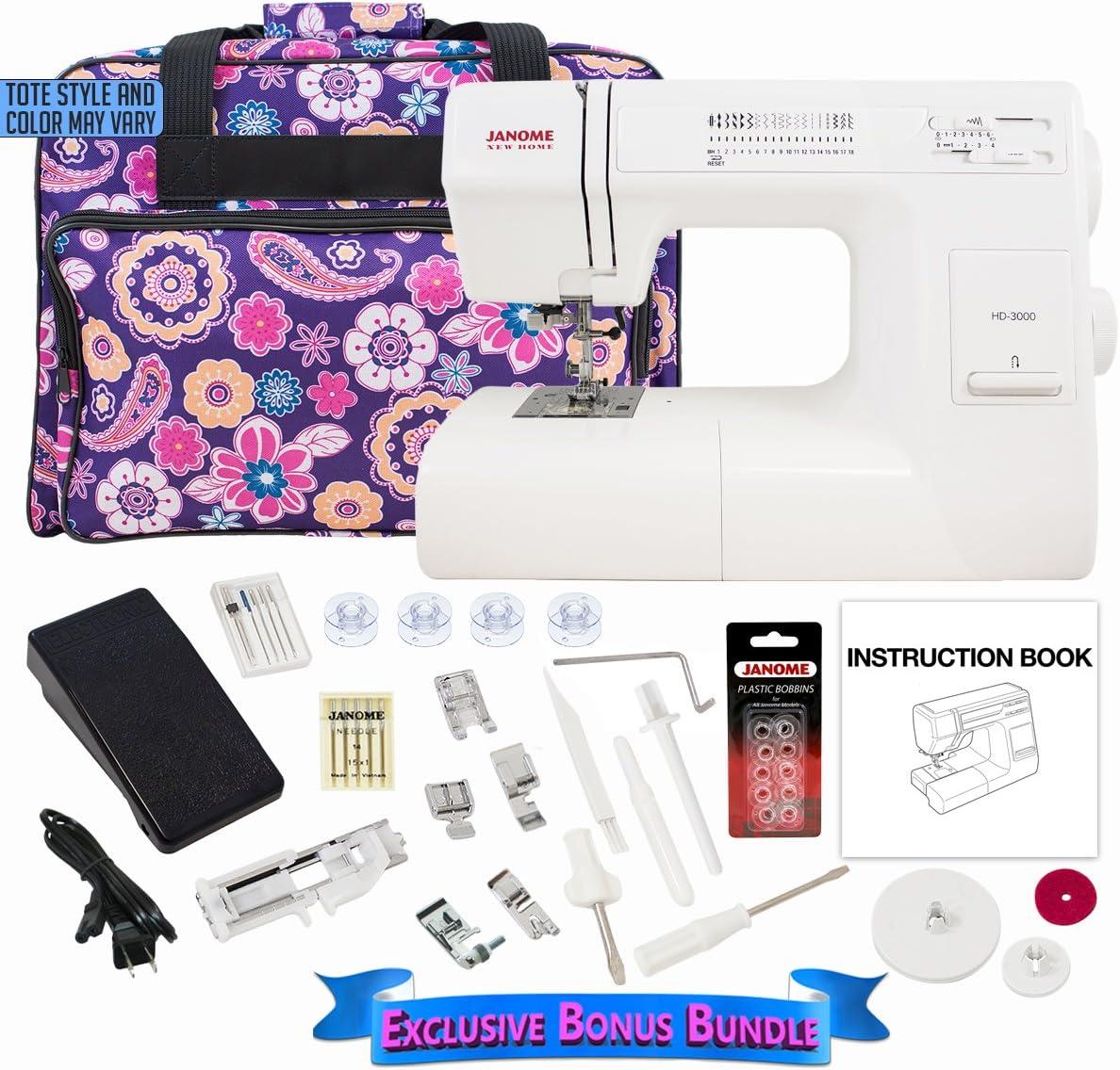 Janome HD3000 Sewing Machine Bundle with Purple Tote, Janome bobbins and Needles