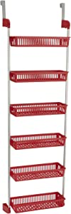 Household Essentials 6-Tier Basket Over-The-Door Organizer, Red