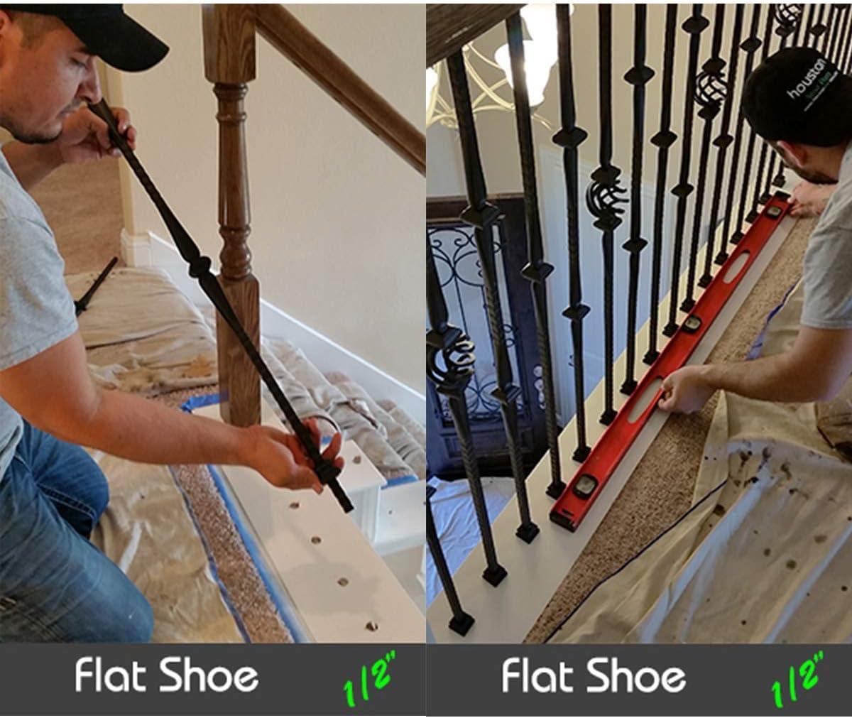 Calzado para balaustres de escalera con juego de tornillos para escaleras de 1,27 cm, husillos de hierro, zapatero, cesta giratoria, nudillos, balaustres de metal (negro satinado): Amazon.es: Bricolaje y herramientas