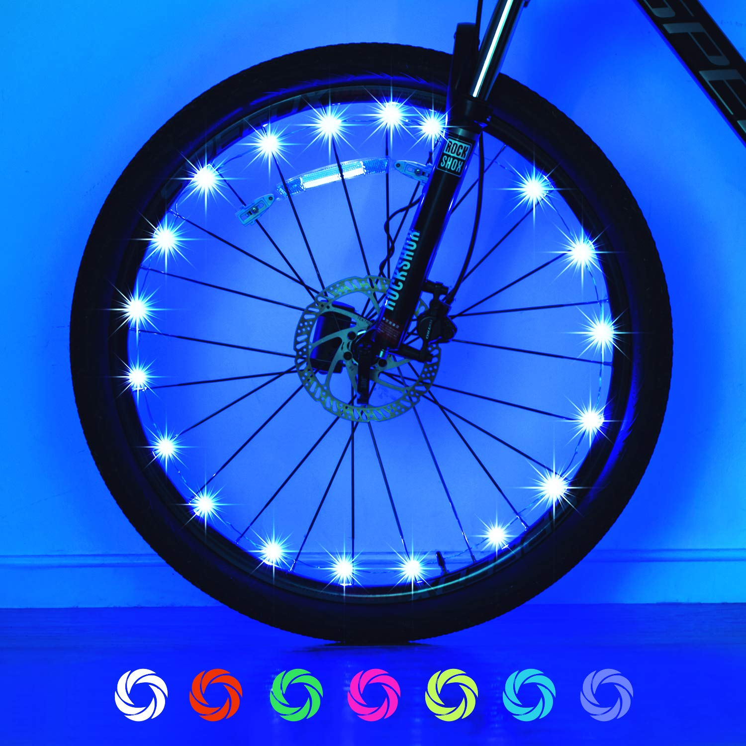 Exwell Bike Wheel Lights, 7 Colors in 1 Bike Lights,Safety at Night,Switch 9 Modes LED Bike Accessories Lights, USB Rechargeable 1 Pack AA Battery 2 Pack