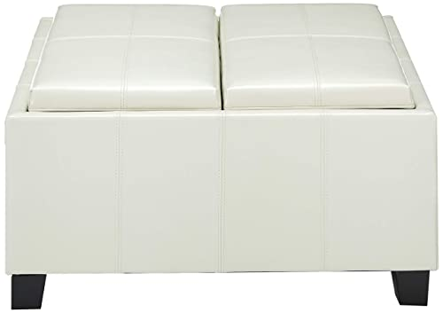 Christopher Knight Home Living Justin Off-White Leather Tray Top Storage Ottoman, Ivory
