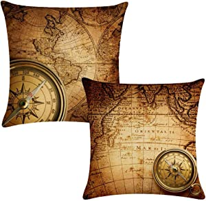 """7ColorRoom Set of 2 Vintage World Map Pillow Covers Navigation Compass Square Decorative Throw Pillow Case Cotton Linen Cushion Cover 18""""X 18"""" for Home Sofa Bedding Decoration (Brown map)"""
