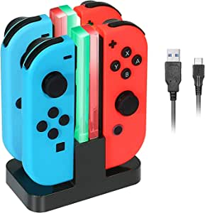 ELM Game Switch Controller Charger for Nintendo Switch, Joy-Cons Charging Dock Station with 4 Charging Dock + LED Indication