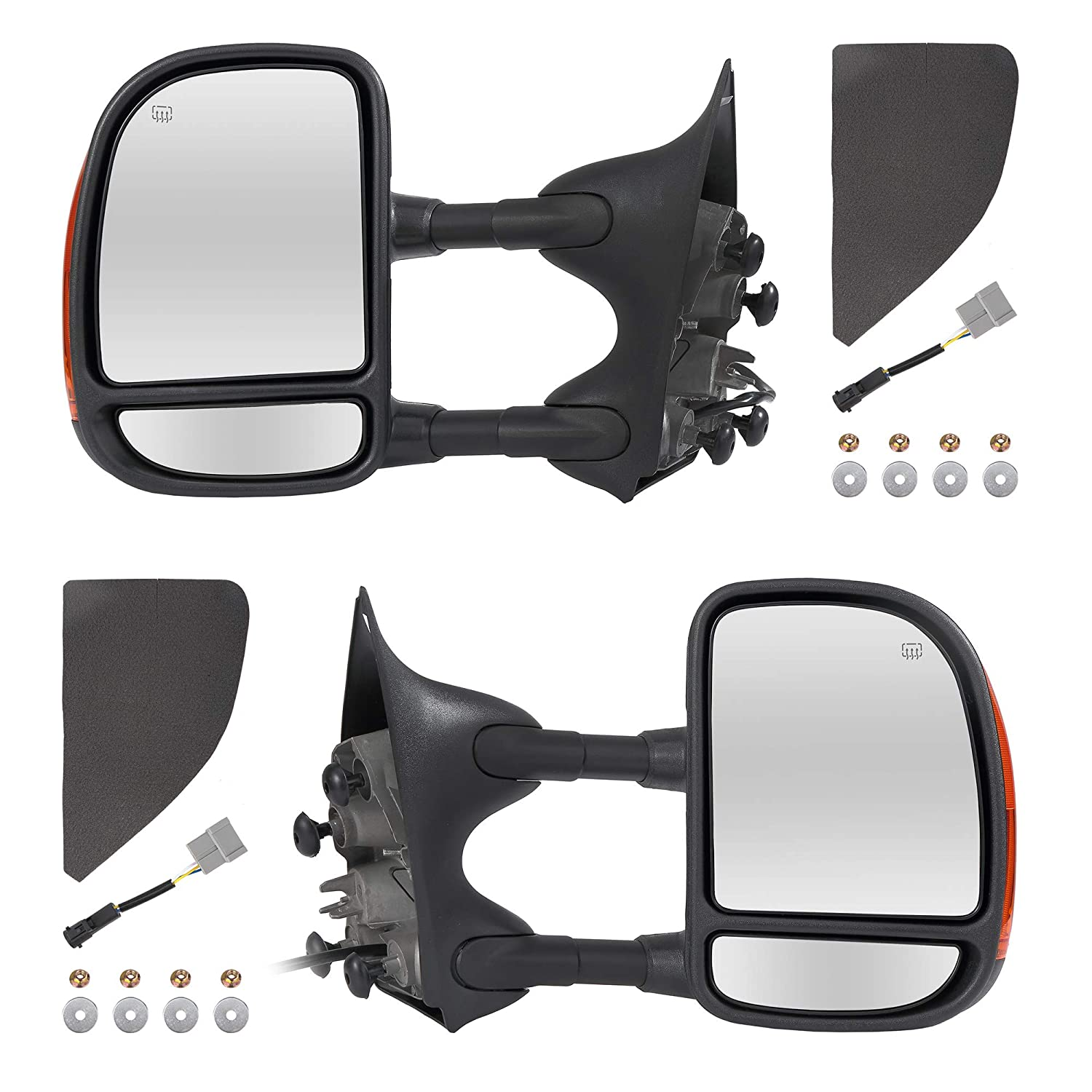 Towing Mirrors Passenger /& Driver Side Power Operated /& Heated With Amber Light Black Finish Fits 99-07 Ford F-250 F-350 F-450 F-550 Super Duty Excursion Manual Folding