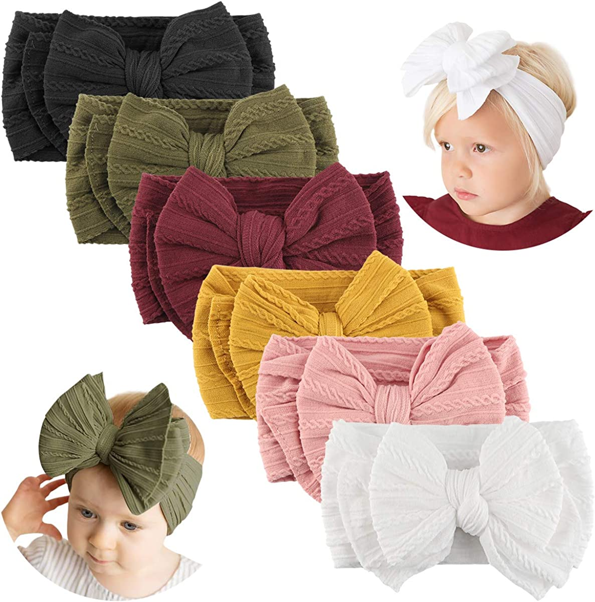 Makone Handmade Baby Headbands with Bows Stretchy Nylon Headbands for...