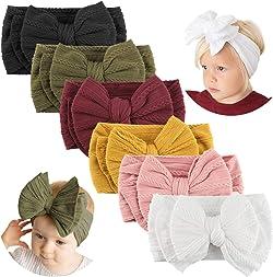 Makone Handmade Stretchy Nylon Headband with Bows Pom Pom Bun 5.5 inch Big Hair Bow Headband for Infant Baby Girls