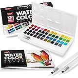 Paint Mark 48 Watercolor Paint Set with 2 Blending Brush Pens, Watercolor Paint Palette Includes 20 Sheets Water Color…